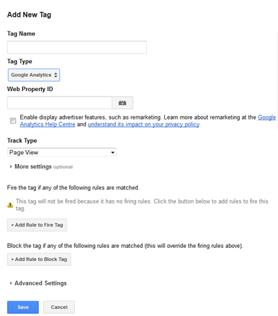 Add a new tag with Google Tag Manager